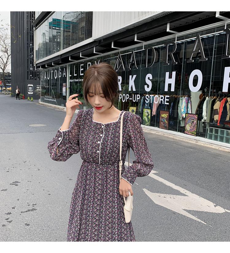 韓国 ファッション ワンピース 春 夏 秋 カジュアル PTXJ449  シアー 小花 パイピング ロング フェミニン オルチャン シンプル 定番 セレカジの写真12枚目