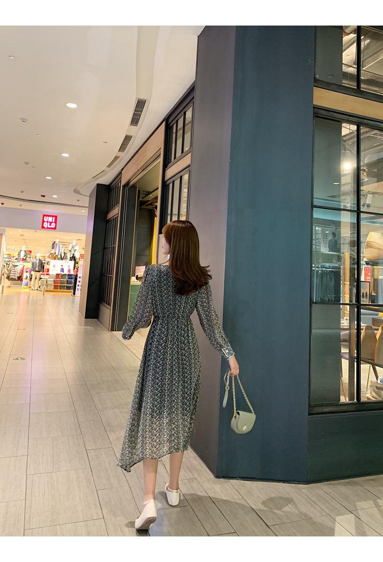 韓国 ファッション ワンピース 春 夏 秋 カジュアル PTXJ449  シアー 小花 パイピング ロング フェミニン オルチャン シンプル 定番 セレカジの写真16枚目