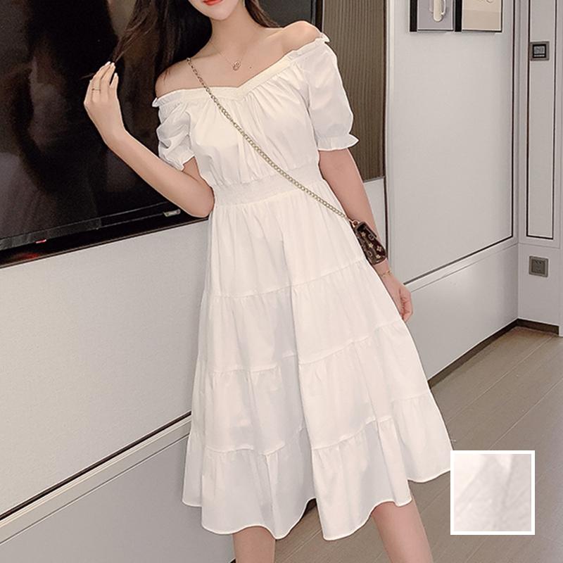 韓国 ファッション ワンピース 春 夏 カジュアル PTXJ464  オフショル 2way フリル ティアード ミディ丈 オルチャン シンプル 定番 セレカジの写真1枚目