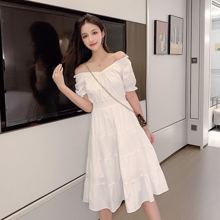 韓国 ファッション ワンピース 春 夏 カジュアル PTXJ464  オフショル 2way フリル ティアード ミディ丈 オルチャン シンプル 定番 セレカジの写真2枚目