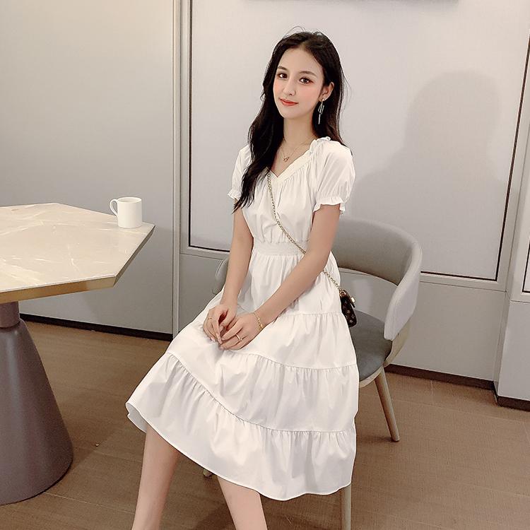 韓国 ファッション ワンピース 春 夏 カジュアル PTXJ464  オフショル 2way フリル ティアード ミディ丈 オルチャン シンプル 定番 セレカジの写真4枚目
