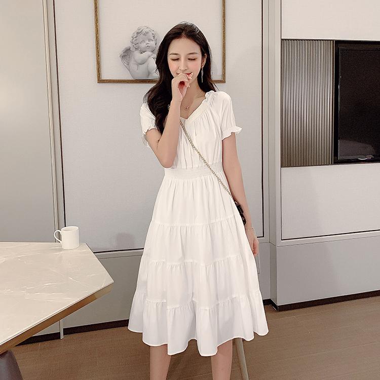 韓国 ファッション ワンピース 春 夏 カジュアル PTXJ464  オフショル 2way フリル ティアード ミディ丈 オルチャン シンプル 定番 セレカジの写真5枚目