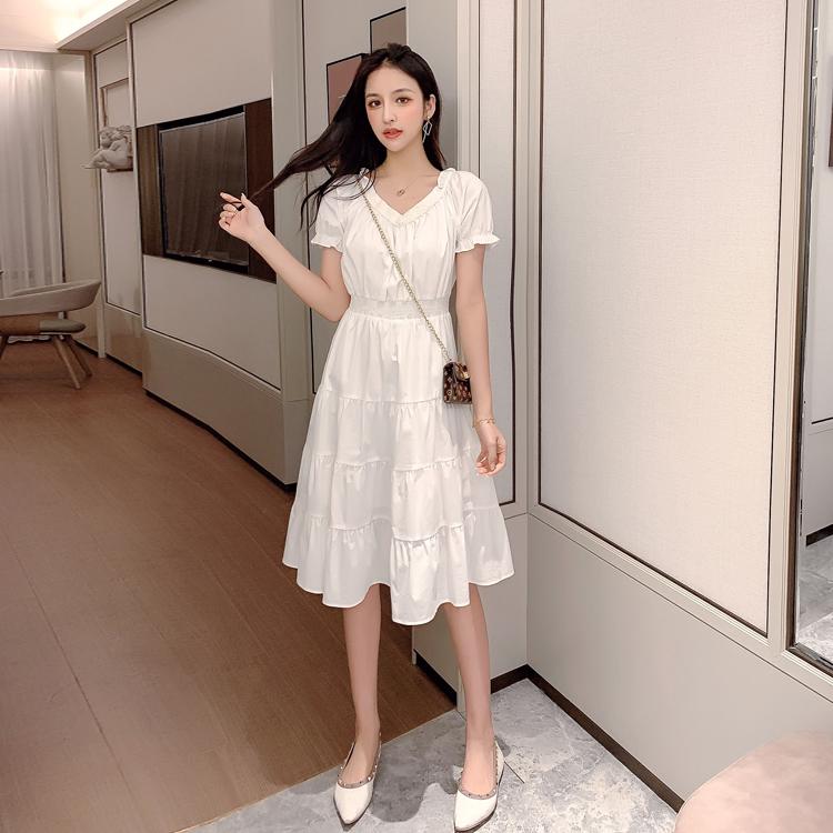 韓国 ファッション ワンピース 春 夏 カジュアル PTXJ464  オフショル 2way フリル ティアード ミディ丈 オルチャン シンプル 定番 セレカジの写真6枚目
