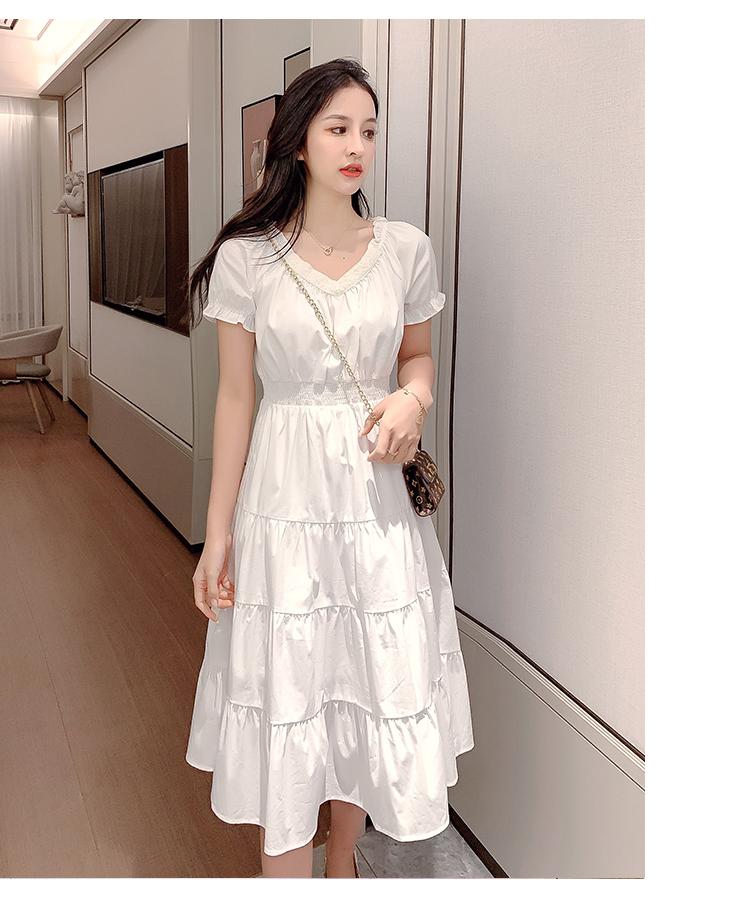 韓国 ファッション ワンピース 春 夏 カジュアル PTXJ464  オフショル 2way フリル ティアード ミディ丈 オルチャン シンプル 定番 セレカジの写真8枚目