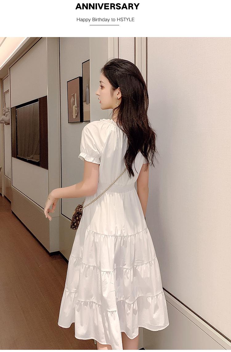 韓国 ファッション ワンピース 春 夏 カジュアル PTXJ464  オフショル 2way フリル ティアード ミディ丈 オルチャン シンプル 定番 セレカジの写真9枚目