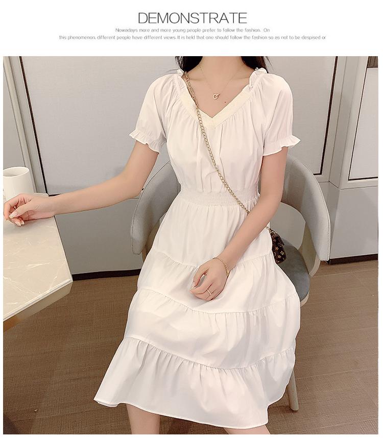 韓国 ファッション ワンピース 春 夏 カジュアル PTXJ464  オフショル 2way フリル ティアード ミディ丈 オルチャン シンプル 定番 セレカジの写真11枚目