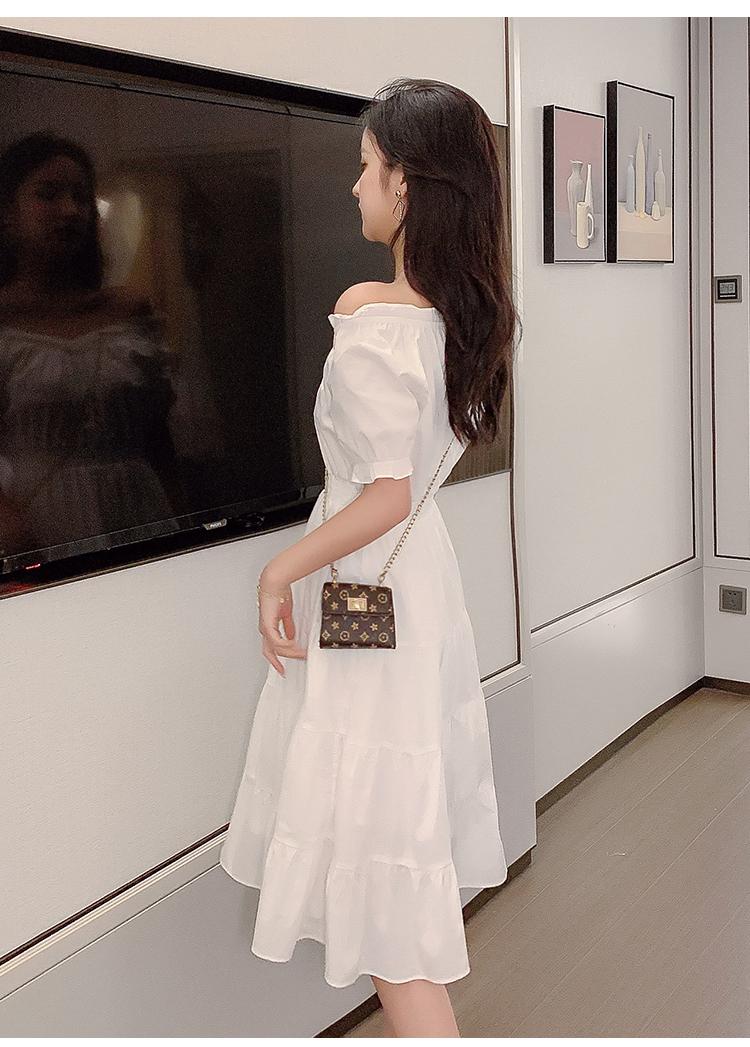 韓国 ファッション ワンピース 春 夏 カジュアル PTXJ464  オフショル 2way フリル ティアード ミディ丈 オルチャン シンプル 定番 セレカジの写真12枚目