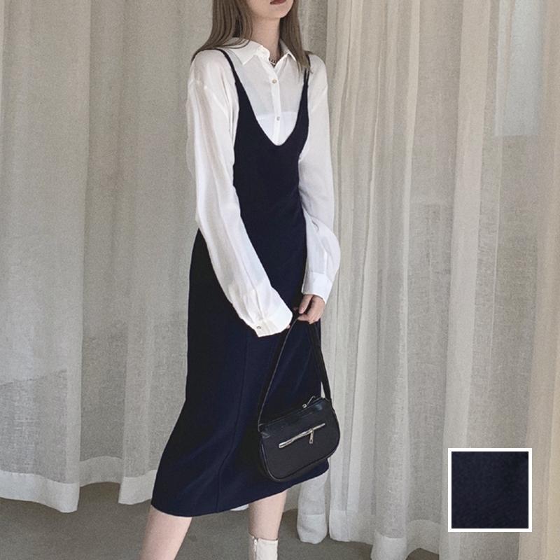 韓国 ファッション ワンピース 春 夏 秋 カジュアル PTXJ466  シンプル 着回し ジャンスカ スリップドレス風 オルチャン シンプル 定番 セレカジの写真1枚目
