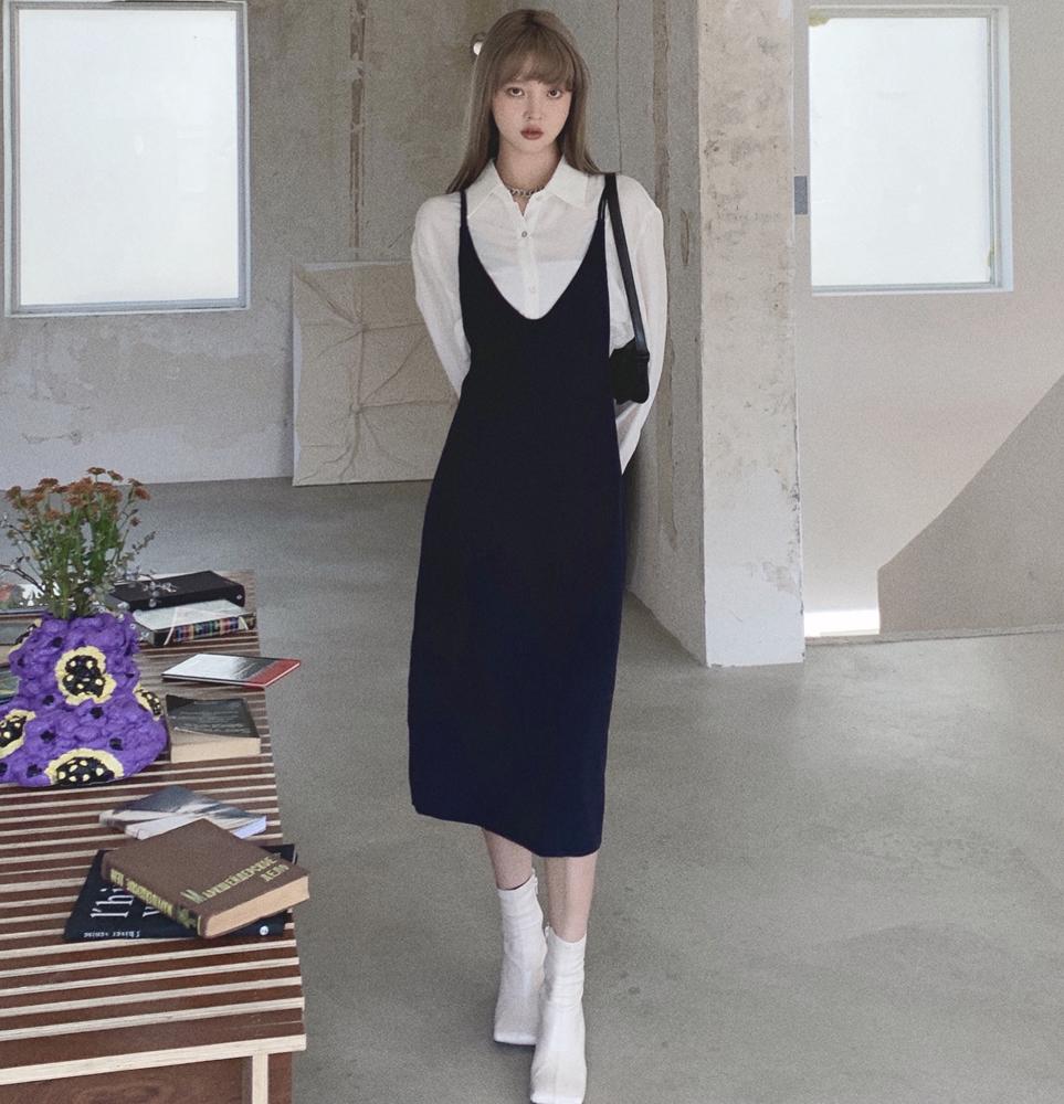 韓国 ファッション ワンピース 春 夏 秋 カジュアル PTXJ466  シンプル 着回し ジャンスカ スリップドレス風 オルチャン シンプル 定番 セレカジの写真3枚目