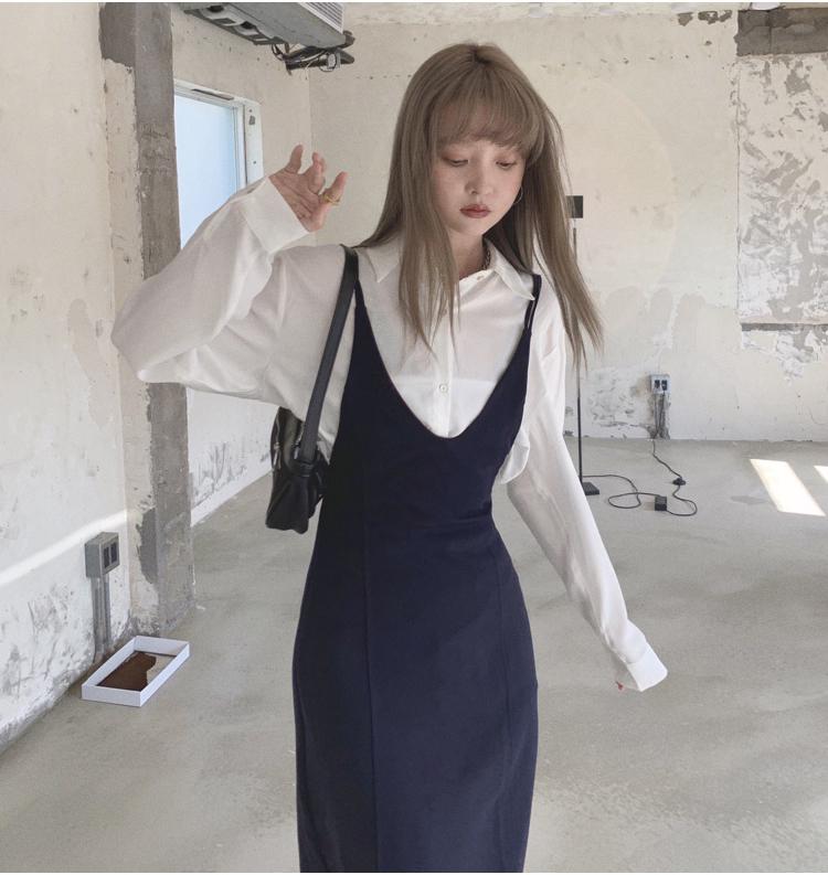 韓国 ファッション ワンピース 春 夏 秋 カジュアル PTXJ466  シンプル 着回し ジャンスカ スリップドレス風 オルチャン シンプル 定番 セレカジの写真5枚目