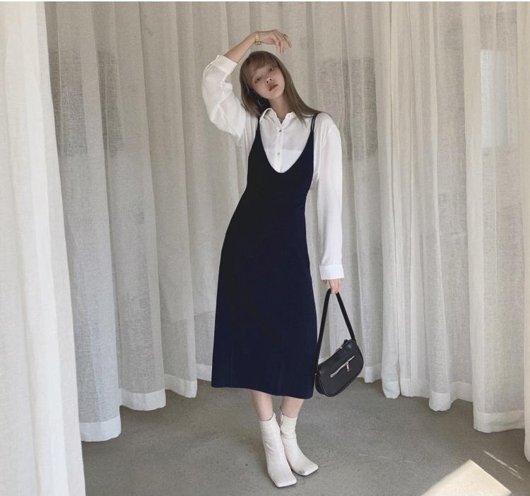 韓国 ファッション ワンピース 春 夏 秋 カジュアル PTXJ466  シンプル 着回し ジャンスカ スリップドレス風 オルチャン シンプル 定番 セレカジの写真8枚目