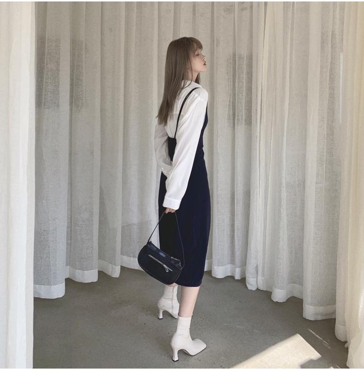 韓国 ファッション ワンピース 春 夏 秋 カジュアル PTXJ466  シンプル 着回し ジャンスカ スリップドレス風 オルチャン シンプル 定番 セレカジの写真10枚目