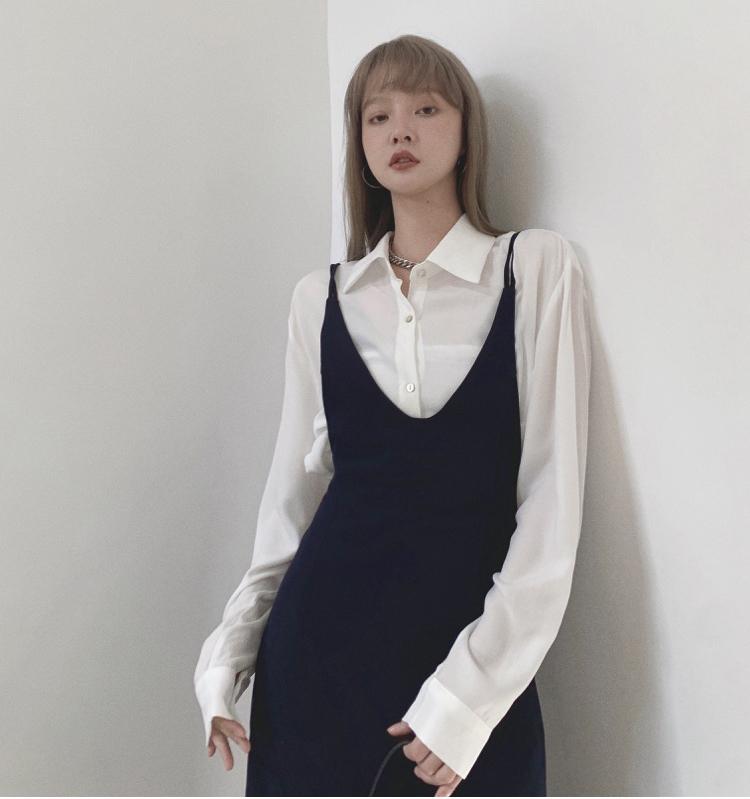 韓国 ファッション ワンピース 春 夏 秋 カジュアル PTXJ466  シンプル 着回し ジャンスカ スリップドレス風 オルチャン シンプル 定番 セレカジの写真11枚目