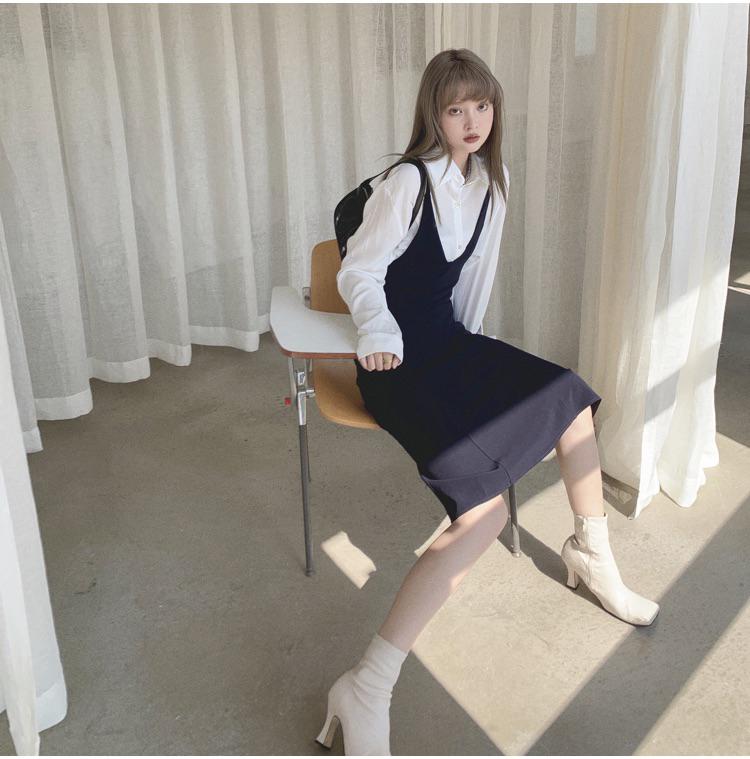 韓国 ファッション ワンピース 春 夏 秋 カジュアル PTXJ466  シンプル 着回し ジャンスカ スリップドレス風 オルチャン シンプル 定番 セレカジの写真12枚目