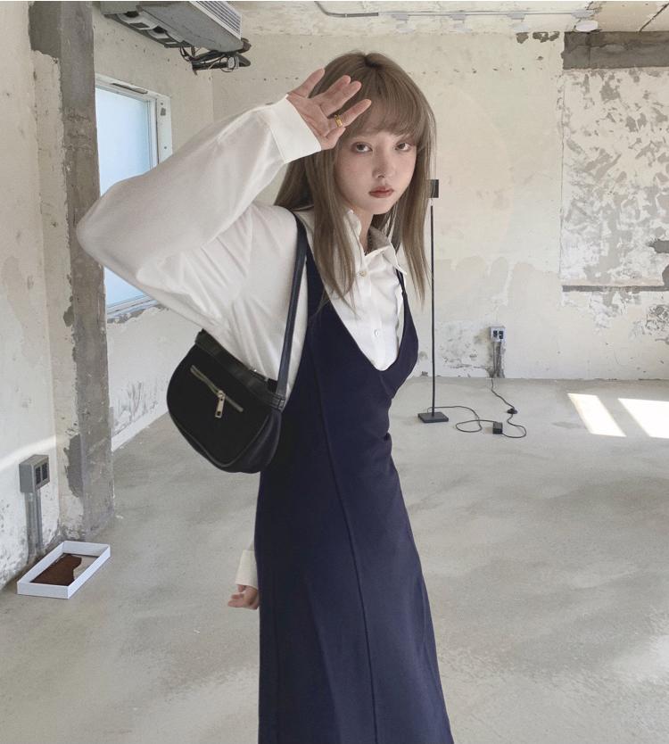 韓国 ファッション ワンピース 春 夏 秋 カジュアル PTXJ466  シンプル 着回し ジャンスカ スリップドレス風 オルチャン シンプル 定番 セレカジの写真15枚目