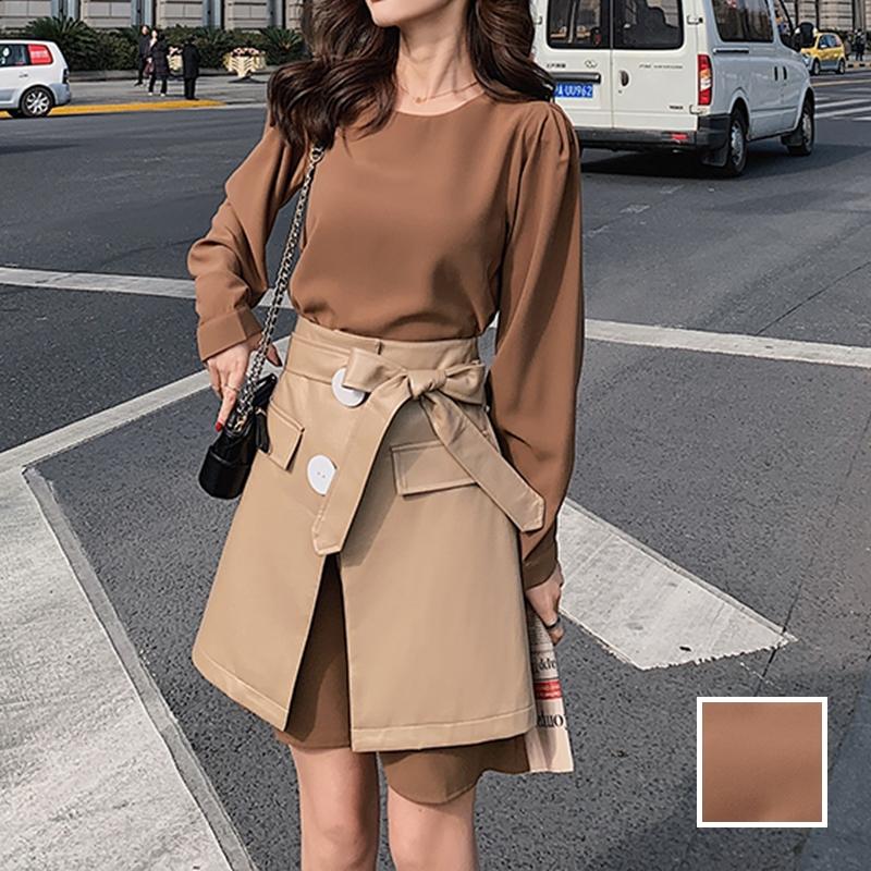 韓国 ファッション セットアップ 春 夏 秋 カジュアル PTXJ468  フェイクレザー オーバースカート ミニワンピ オルチャン シンプル 定番 セレカジの写真1枚目