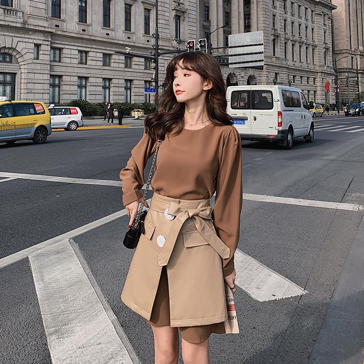 韓国 ファッション セットアップ 春 夏 秋 カジュアル PTXJ468  フェイクレザー オーバースカート ミニワンピ オルチャン シンプル 定番 セレカジの写真5枚目