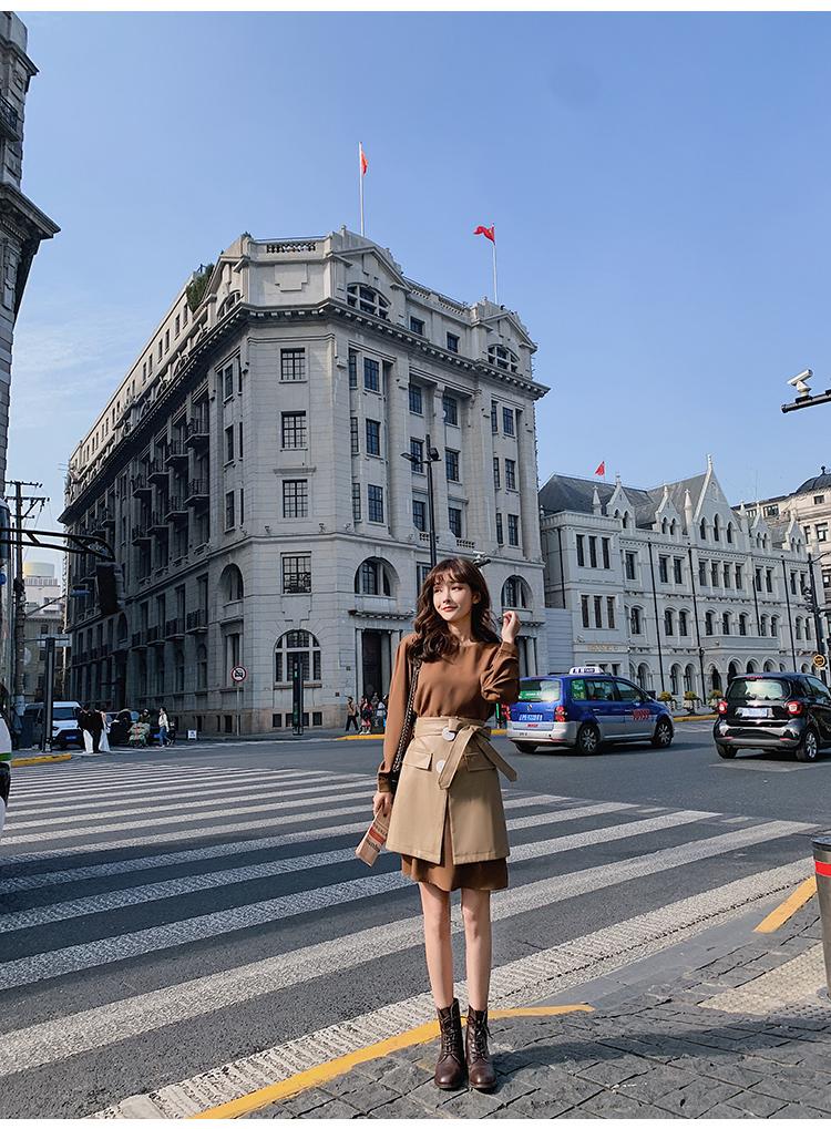 韓国 ファッション セットアップ 春 夏 秋 カジュアル PTXJ468  フェイクレザー オーバースカート ミニワンピ オルチャン シンプル 定番 セレカジの写真7枚目