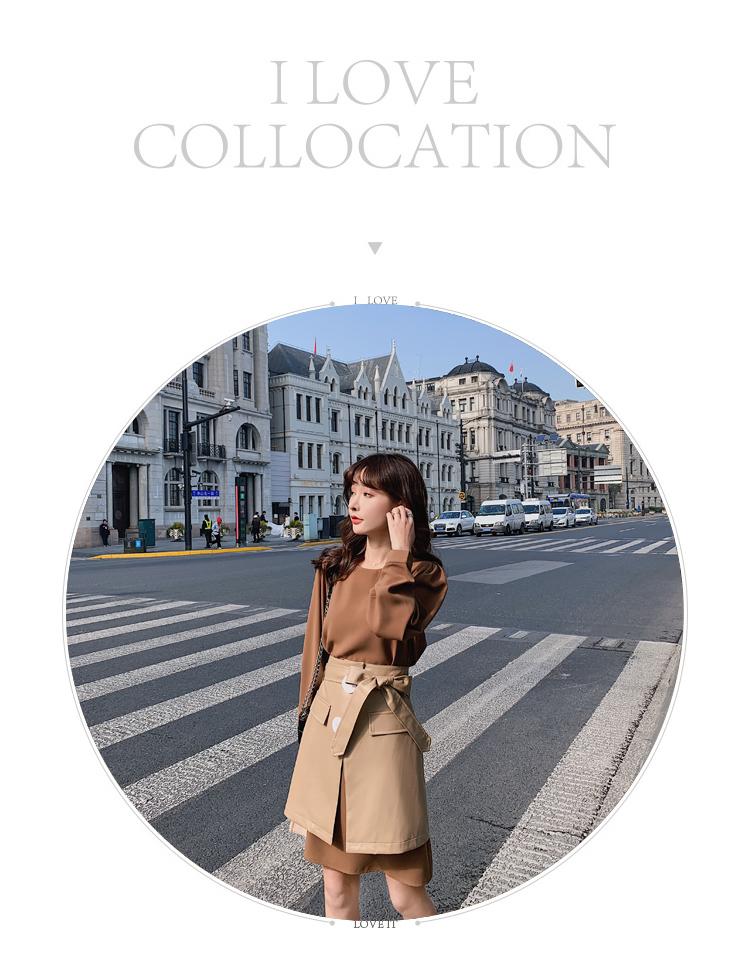 韓国 ファッション セットアップ 春 夏 秋 カジュアル PTXJ468  フェイクレザー オーバースカート ミニワンピ オルチャン シンプル 定番 セレカジの写真8枚目