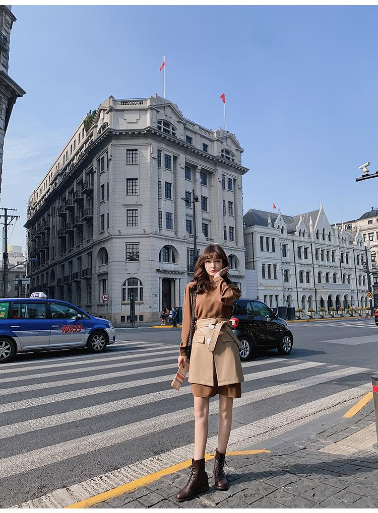 韓国 ファッション セットアップ 春 夏 秋 カジュアル PTXJ468  フェイクレザー オーバースカート ミニワンピ オルチャン シンプル 定番 セレカジの写真9枚目