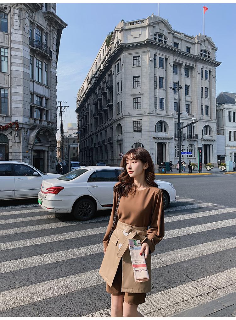 韓国 ファッション セットアップ 春 夏 秋 カジュアル PTXJ468  フェイクレザー オーバースカート ミニワンピ オルチャン シンプル 定番 セレカジの写真10枚目