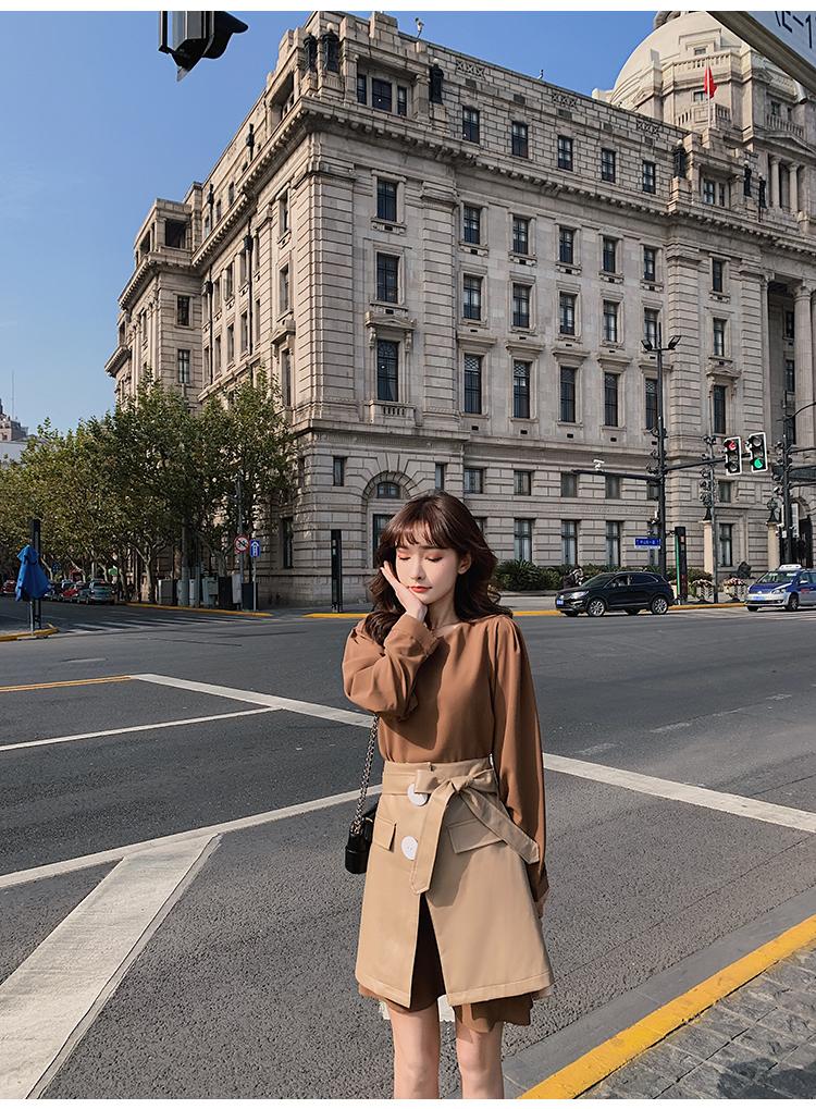 韓国 ファッション セットアップ 春 夏 秋 カジュアル PTXJ468  フェイクレザー オーバースカート ミニワンピ オルチャン シンプル 定番 セレカジの写真11枚目