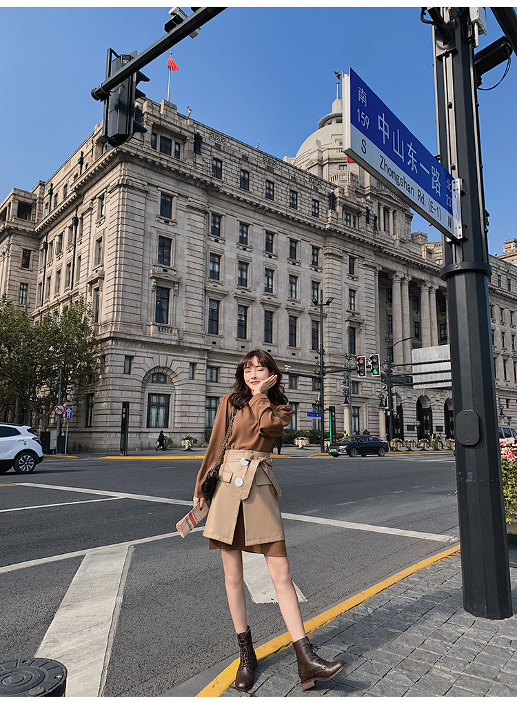 韓国 ファッション セットアップ 春 夏 秋 カジュアル PTXJ468  フェイクレザー オーバースカート ミニワンピ オルチャン シンプル 定番 セレカジの写真12枚目