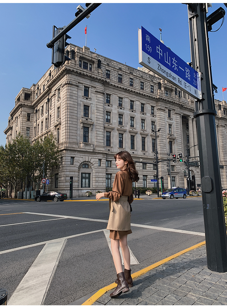 韓国 ファッション セットアップ 春 夏 秋 カジュアル PTXJ468  フェイクレザー オーバースカート ミニワンピ オルチャン シンプル 定番 セレカジの写真13枚目