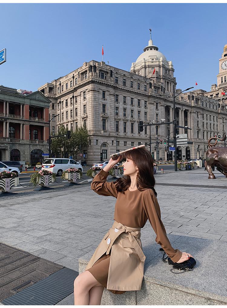 韓国 ファッション セットアップ 春 夏 秋 カジュアル PTXJ468  フェイクレザー オーバースカート ミニワンピ オルチャン シンプル 定番 セレカジの写真16枚目