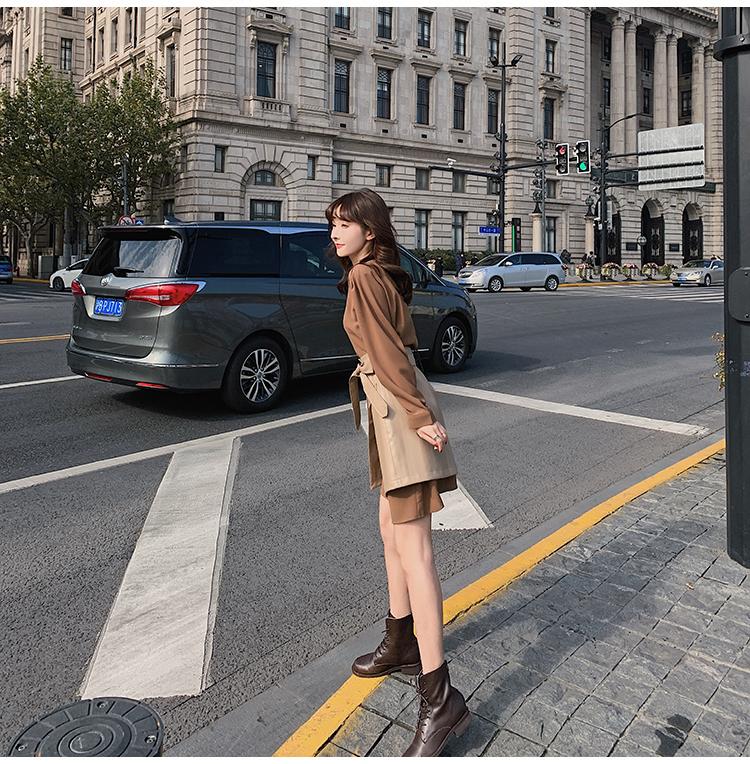 韓国 ファッション セットアップ 春 夏 秋 カジュアル PTXJ468  フェイクレザー オーバースカート ミニワンピ オルチャン シンプル 定番 セレカジの写真18枚目