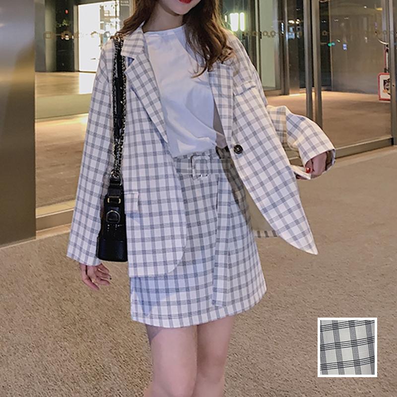 韓国 ファッション セットアップ 春 夏 秋 カジュアル PTXJ470  オーバーサイズ チェック ミニスカート オルチャン シンプル 定番 セレカジの写真1枚目