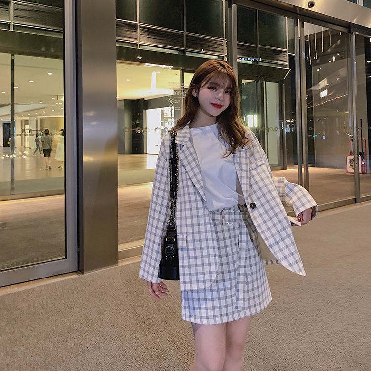 韓国 ファッション セットアップ 春 夏 秋 カジュアル PTXJ470  オーバーサイズ チェック ミニスカート オルチャン シンプル 定番 セレカジの写真2枚目