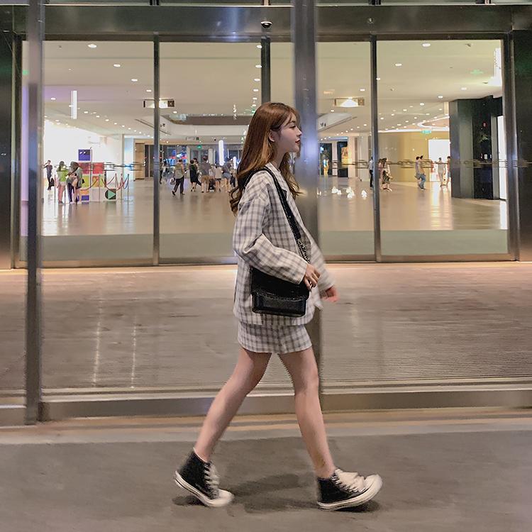 韓国 ファッション セットアップ 春 夏 秋 カジュアル PTXJ470  オーバーサイズ チェック ミニスカート オルチャン シンプル 定番 セレカジの写真4枚目