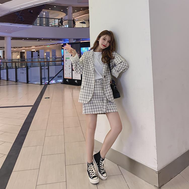 韓国 ファッション セットアップ 春 夏 秋 カジュアル PTXJ470  オーバーサイズ チェック ミニスカート オルチャン シンプル 定番 セレカジの写真7枚目