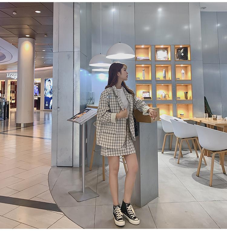 韓国 ファッション セットアップ 春 夏 秋 カジュアル PTXJ470  オーバーサイズ チェック ミニスカート オルチャン シンプル 定番 セレカジの写真16枚目