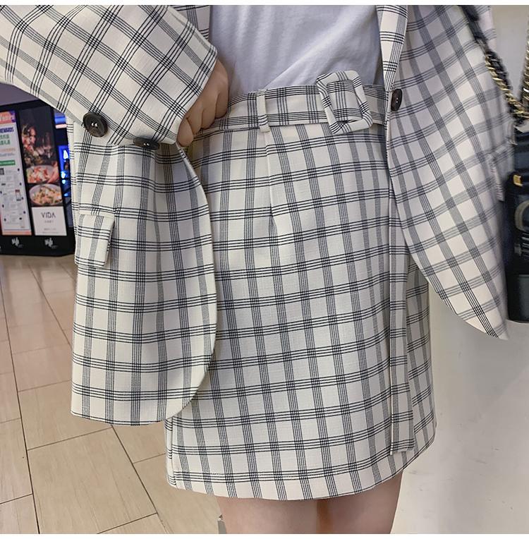 韓国 ファッション セットアップ 春 夏 秋 カジュアル PTXJ470  オーバーサイズ チェック ミニスカート オルチャン シンプル 定番 セレカジの写真19枚目