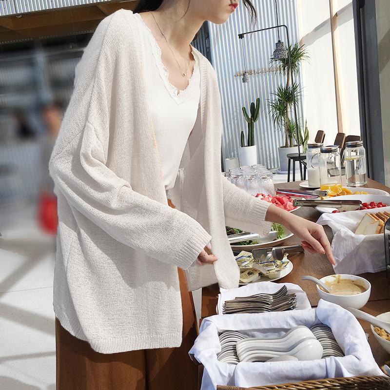 韓国 ファッション トップス カーディガン 春 夏 秋 カジュアル PTXJ482  サマーニット オーバーサイズ ガウン 羽織り オルチャン シンプル 定番 セレカジの写真2枚目