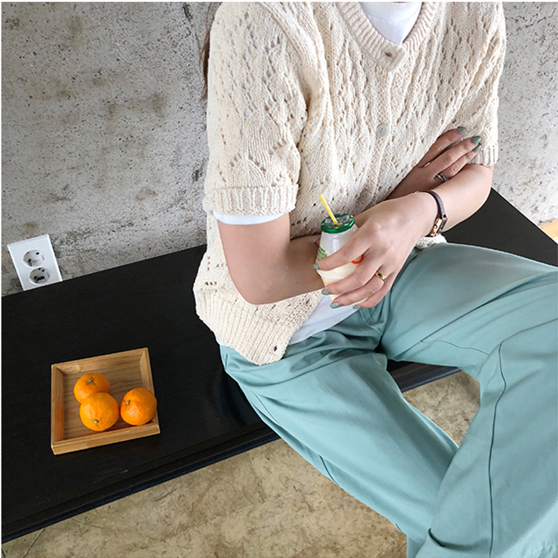韓国 ファッション トップス ニット セーター 春 夏 秋 カジュアル PTXJ485  透かし編みニット ノーカラー フロントボタン オルチャン シンプル 定番 セレカジの写真5枚目