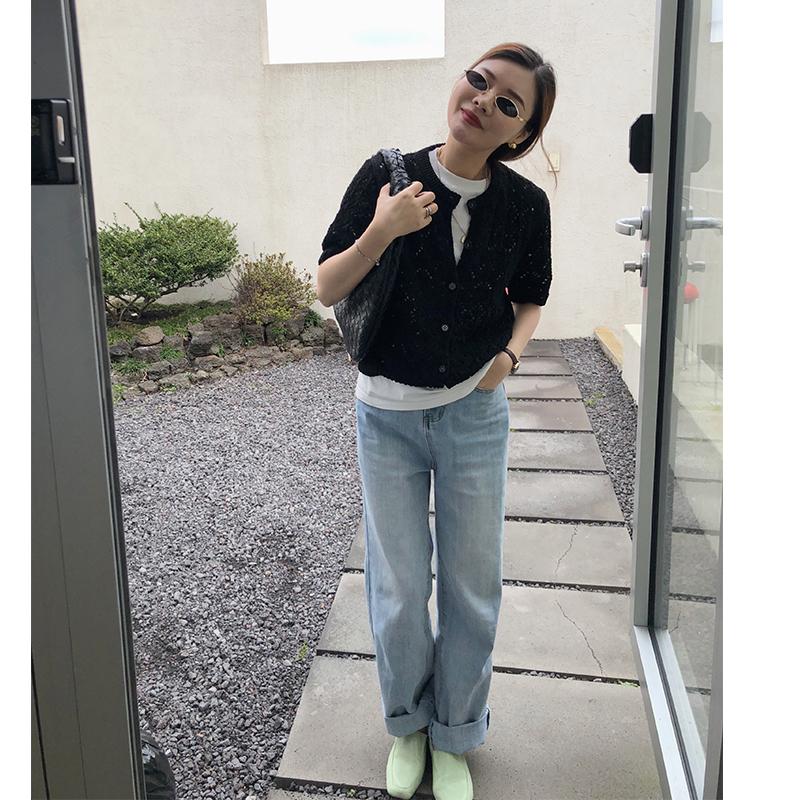 韓国 ファッション トップス ニット セーター 春 夏 秋 カジュアル PTXJ485  透かし編みニット ノーカラー フロントボタン オルチャン シンプル 定番 セレカジの写真6枚目