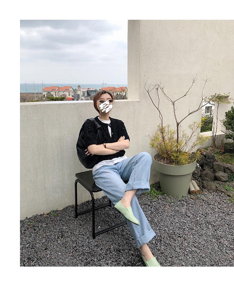 韓国 ファッション トップス ニット セーター 春 夏 秋 カジュアル PTXJ485  透かし編みニット ノーカラー フロントボタン オルチャン シンプル 定番 セレカジの写真8枚目