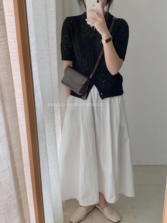 韓国 ファッション トップス ニット セーター 春 夏 秋 カジュアル PTXJ485  透かし編みニット ノーカラー フロントボタン オルチャン シンプル 定番 セレカジの写真9枚目