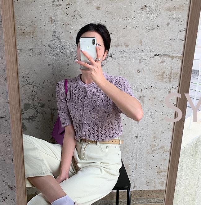 韓国 ファッション トップス ニット セーター 春 夏 秋 カジュアル PTXJ485  透かし編みニット ノーカラー フロントボタン オルチャン シンプル 定番 セレカジの写真15枚目