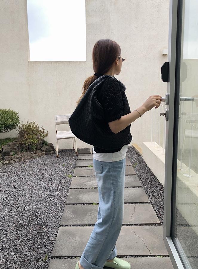 韓国 ファッション トップス ニット セーター 春 夏 秋 カジュアル PTXJ485  透かし編みニット ノーカラー フロントボタン オルチャン シンプル 定番 セレカジの写真18枚目