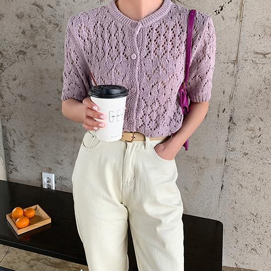 韓国 ファッション トップス ニット セーター 春 夏 秋 カジュアル PTXJ485  透かし編みニット ノーカラー フロントボタン オルチャン シンプル 定番 セレカジの写真19枚目
