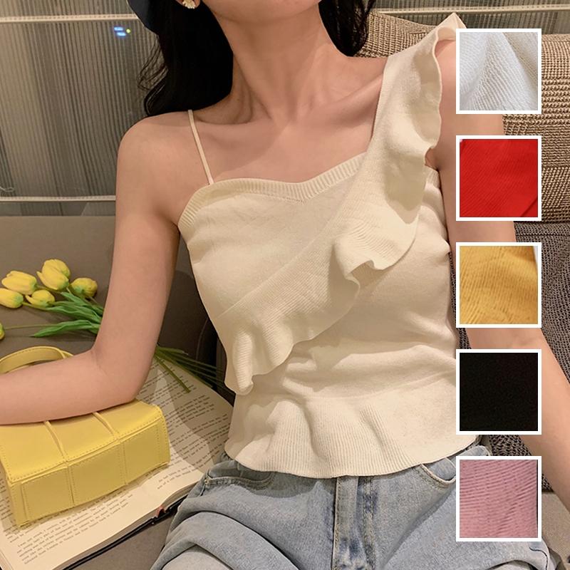 韓国 ファッション トップス ニット セーター 春 夏 カジュアル PTXJ502  フリル ワンショルダー リブニット ペプラム オルチャン シンプル 定番 セレカジの写真1枚目