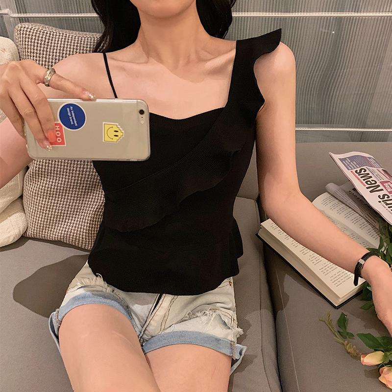 韓国 ファッション トップス ニット セーター 春 夏 カジュアル PTXJ502  フリル ワンショルダー リブニット ペプラム オルチャン シンプル 定番 セレカジの写真5枚目