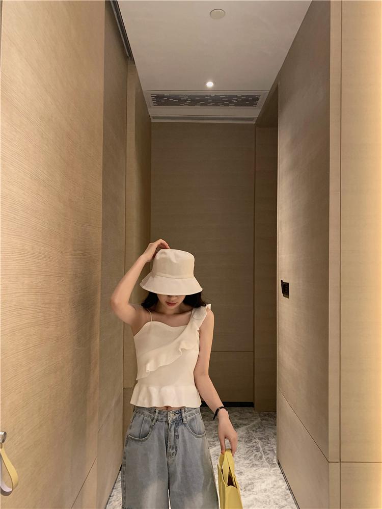 韓国 ファッション トップス ニット セーター 春 夏 カジュアル PTXJ502  フリル ワンショルダー リブニット ペプラム オルチャン シンプル 定番 セレカジの写真13枚目