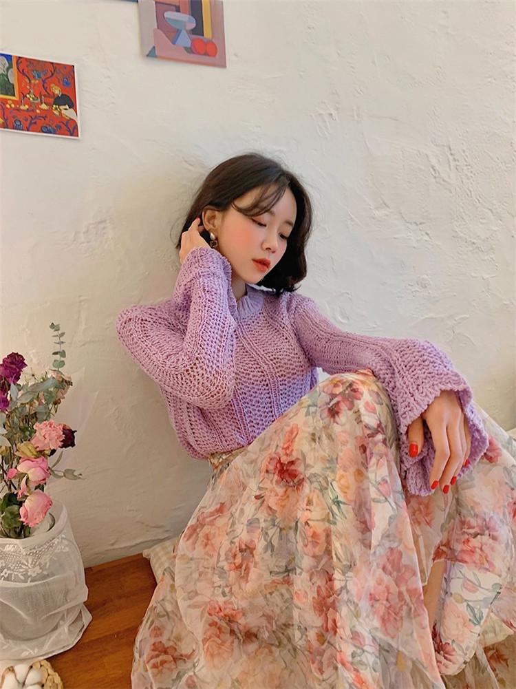 韓国 ファッション トップス ニット セーター 春 夏 秋 カジュアル PTXJ510  透かし編みニット レイヤード ダメージ オルチャン シンプル 定番 セレカジの写真7枚目