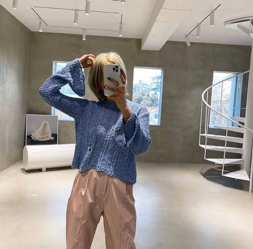 韓国 ファッション トップス ニット セーター 春 夏 秋 カジュアル PTXJ510  透かし編みニット レイヤード ダメージ オルチャン シンプル 定番 セレカジの写真13枚目