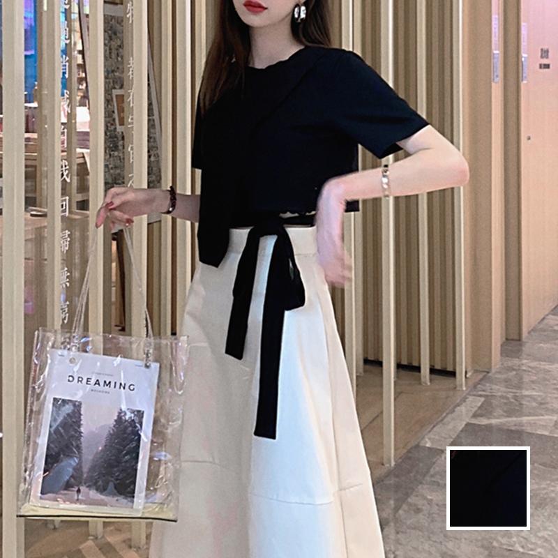 韓国 ファッション トップス Tシャツ カットソー 春 夏 カジュアル PTXJ512  アシンメトリー リボン 切替 プルオーバー オルチャン シンプル 定番 セレカジの写真1枚目